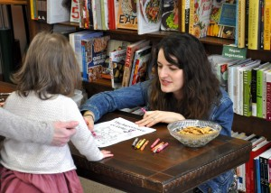 Lindsay Ward with young reader